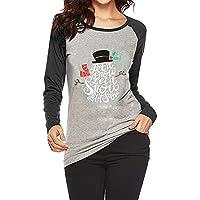 HUYURI Gemütlich Langärmeliges Shirt für Frauen O Neck Christmas T-Shirt Lässige Tops