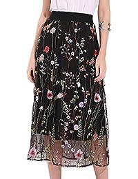 Mujer Sexy Falda Estampada Negro Alta Cintura Bordado Falda Estampada  Floral Playa Primavera Verano Fiesta Noche 479eedd879c7