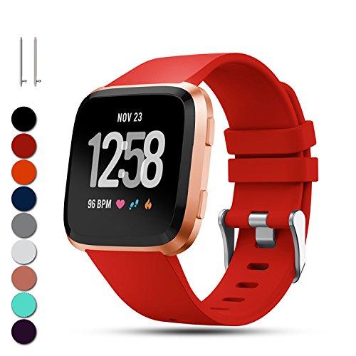 Feskio pour Fitbit Versa de remplacement Sangles de poignet, Classic réglable souple en silicone Sport Bracelet Sangle Bracelect pour Fitbit Versa Smartwatch, grand/petit petit Red