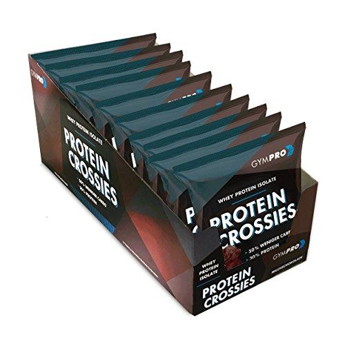 GymPro PROTEIN CROSSIES, Hochwertiger Eiweiß Protein Riegel Ersatz. Low Carb Proteinriegel Alternative zur Schokolade (Schokolade, 10 x 50g)