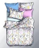DecoKiing 03961 200x220 cm Bettwäsche mit 2 Kissenbezügen 80x80 Bettwäscheset Bettbezüge Microfaser Bettwäschegarnituren Reißverschluss Basic Collection Eule weiß grau rosa minze gelb