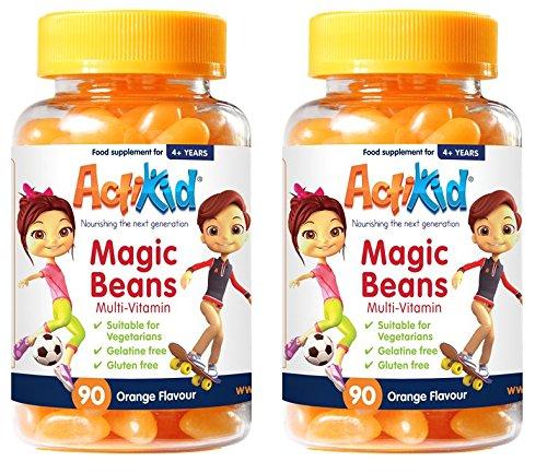 SPECIAL OFFER 2x ActiKid Magic Beans Multi-Vitamin 90x Orange Flavour, Gelatin free (Jelly Beans Orange)