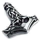 """MENDINO silber-schwarzer Edelstahl-Anhänger mit 55,9cm langer Kette im Design """"keltischer Knoten - Thors Hammer"""", für Männer"""