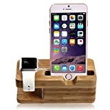 Apple Watch Stand,lamavido® iWatch Bamboo Wood Charging Dock Charge Station Stock Cradle Holder for Apple Watch iWatch series 1& 2 Both 38mm and 42mm & iPhone 6 /6 plus /5S/ 5 / 7/ 7 Plus