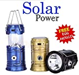 #10: 6 LED Solar Power Camping Lantern Light Rechargable Night Light/Flashlight -Color May Vary with free stainless steel egg mould inside gift..