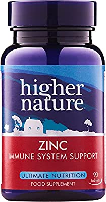 Higher Nature Zinc 20mg with Copper Pack of 90 by Higher Nature