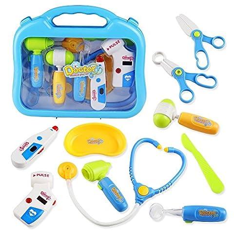 Kit du Docteur Jouet Malette de Docteur avec Acessoire Medical Kit Jeu d'imitation pour Enfant Garçon Fille 3 Ans et Plus
