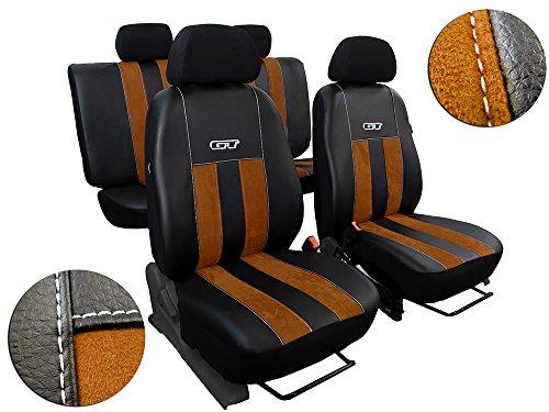 POK-TER-TUNING Autositzbezüge Passend für Hilux VII .Sitzbezüge Set Kunstleder mit Alcantra. Design GT. in Diesem Angebot Braun.