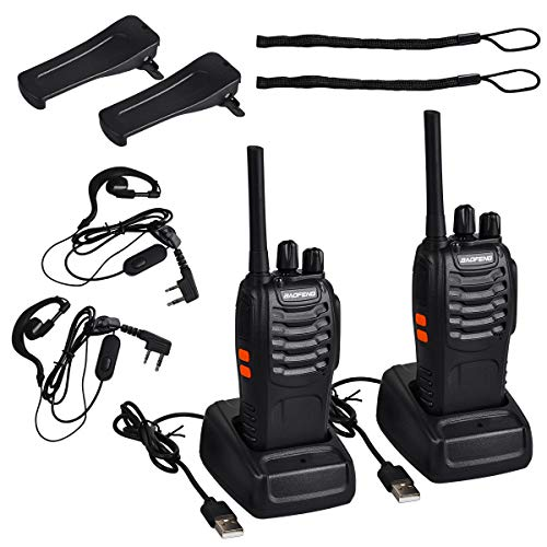 Funkprofi BF-88E PMR Walkie Talkie Set, Funkgeräte 16 Kanäle Reichweite 5 km Wireless Professionelle Hand-Funkgerät Dual Band Radio CTCSS/DCS Rauschsperre 400-470 MHz (mit Headset)