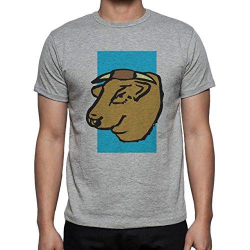 Bull Cow Animals Farm Brown Head Herren T-Shirt Grau