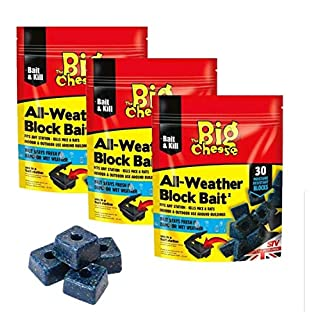 THE BIG CHEESE 90 ALL WEATHER BLOCKS POISON BLOCK BAIT RAT MOUSE MICE RODENT