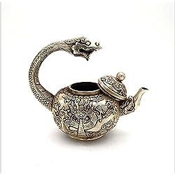 Weiß Kupfer Teekanne Antike Töpfe Drachen Muster Bronze Crafts