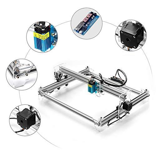 HUKOER A3 Pro CNC USB Grabado láser Máquina de tallado Cortador láser de escritorio Impresora láser 3038, 2500Mw con gafas protectoras