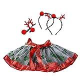 BaZhaHei Baby Mädchen Kinder Weihnachten Tutu Ballett Röcke Fancy Party Rock + Haarband Set Mesh Rock Prinzessinenkleid Tutu + Reifen Passen