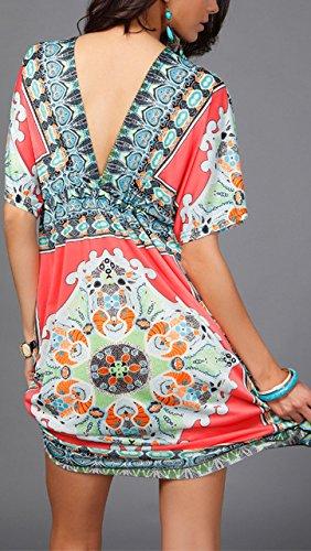 Strandkleid Damen Kurz V Ausschnitt Kurzarm Blumen Boho Mini Casual  Sommerkleid Freizeitkleider Rose