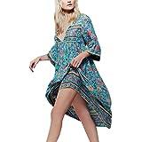 Kleid Damen,Binggong Frauen retro Unregelmäßig Blumendruck Langarm Boho Kleid Damen Abend Party mode lange lose Maxi V-Ausschnitt Kleid (Sexy Blau, XXXXL)