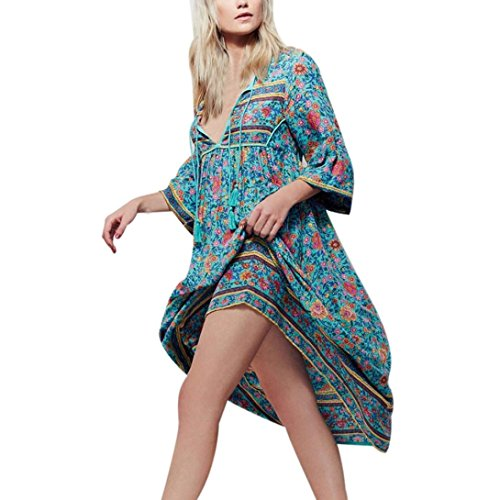 Kleid Damen ,Binggong Frauen retro Unregelmäßig Blumendruck Langarm Boho Kleid Damen Abend Party mode lange lose Maxi V-Ausschnitt Kleid (Sexy Blau, L) (Kurzarm-pullover Sleeve Cap)