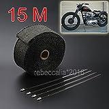 EMOTREE 15M Auto Motorrad Auspuff Hitzeschutzband Band bis 1400° Heat Wrap Krümmer mit 15 Metall Kabelbinder Schwarz
