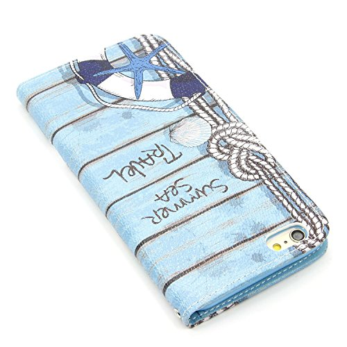 MOONCASE iPhone 6S Bookstyle Custodia [Foglie di banana] Portafoglio Protettiva in pelle Flip Cover Stand Case per iPhone 6 6S 4.7 Sea Travel