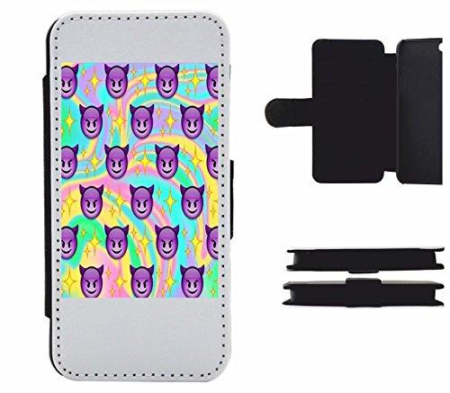 """Leder Flip Case Apple IPhone 5C """"Lächelndes Gesicht mit Hörnern und Regenbogen Retro"""", der wohl schönste Smartphone Schutz aller Zeiten."""