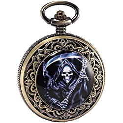 AMPM24 Steampunk Death Reaper Copper Open Face Retro Pendant Pocket Watch Gift + AMPM24 Gift Box WPK169