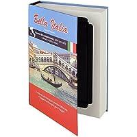 """HMF 80935 caja fuerte en forma de libro, caja de caudales camuflada, páginas de papel auténticas,""""Bella Italia"""", 23 × 15 × 4 cm, rotulación en italiano"""