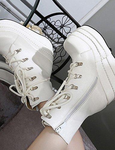 ShangYi Mode Damenschuhe Stiefel fallen die Springerstiefel / Runder PU and Keilabsatz Schnürschuhe Schwarz / Weiß Andere Schwarz