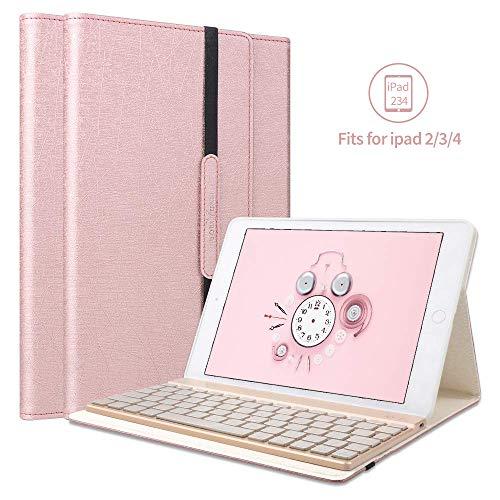 BORIYUAN Bluetooth Tastatur Hülle Kompatibel mit Ipad 4 Ipad 3 Ipad 2, Kratzfest PU Hülle mit 7 Farben Hinterleuchtet Abnehmbare Wireless Bluetooth Tastatur für iPad 2/3/4 - (Rotgold)