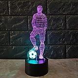 Lustige 3D Fußball Touch Tischlampe 7 Farben ändern Schreibtischlampe USB Powered Nachtlampe Fußball LED Licht für Schlafzimmer