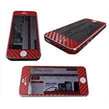 TCD for Apple iPhone 5 5S [RED] Carbon Fiber Vinyl Skin Warp Decal FULL BODY and Side Sticker Set - Adhesive - NO sticky residue Compatible with Verizon, AT&T, T Mobile