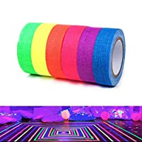 Quemu Co.,Ltd. Fluorescent Cloth Tapes - UV Blacklight Reactive Neon Gaffer Tape for Glow Party Decorations/Holiday Supplies/Secures Cables 6 Colors 0.6 Inch x 16.4 Feet