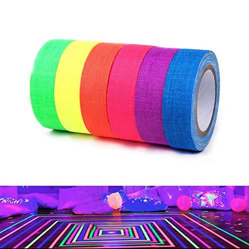 Quemu Co.,Ltd. Fluoreszierendes Tuchband - UV Schwarzlicht Reaktives Neon-Gaffer Tape für Glow Party Dekorationen/Urlaubsbedarf / sichert Kabel 6 Farben 0,6 cm x 4,4 m (schwarz)