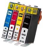 Multipack 4er Pack Tintenpatronen Kompatibel zu HP 364XL Schwarz (breit) und Color - HP Deskjet: 3070 / 3070A / D 5445 / D 5460 HP / B 109A / B 8550 / C 5324 / C 5370 / C 5380 / C 5390 / C 6300 / C 6324 / C 6380 / D 5445 / D 5460 / C 510A / 5510 / 5514 / 5515 / 6510 / 7510 / B 110A / B 110C / B 110D / B 110E / B 110F / B 109A / B 109B / B 109C / B 109D / B 109E / B 109F / B 109G / B 109N / B 010A / B 010B / B 210A / B 210B / B 210C / B 210E / B 410A / B 410C / C 309G