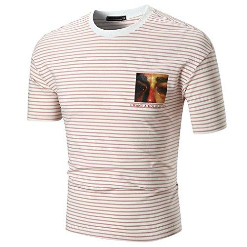 Männer Gestreiften Kurzarm T-Shirt Sommer Casual Schlank T Shirt Top Herren Mode Persönlichkeit Pullover Bluse (XL, Rot)