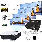 Hanbaili (Negro + EE. UU. Plug) Proyector de video UC40 Mini LED, 7000 lúmenes Proyector de video de cine en casa multimedia Soporte 1080P Tarjeta de HDMI USB SD VGA AV Cine en casa TV Juego de comput