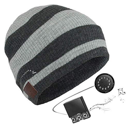 Electz Music Headset Beanie Bluetooth | Mütze Funkkopfhörer Stereo-Lautsprecher-Mikrofon Wireless Cap | kompatibel mit Smartphone | Dunkelgrau -