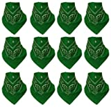 12er Pack Bandanas mit original Paisley Muster in grün