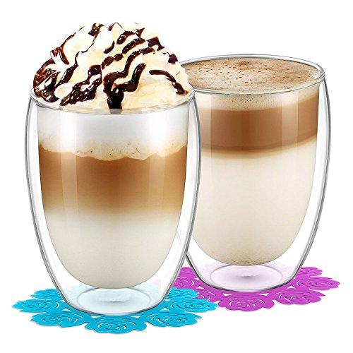 Glas becher,BOQO Gläser Set,Hoher Borosilikat-Becher 350ml,2er Set Wasserglas,Doppelwandiges,Hitzebeständiges,Trinkgläser,Gläsersets und Untersetzer(12-Unzen)