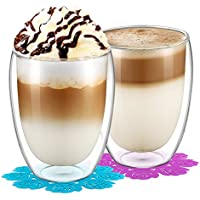 Glass Cups,BOQO 12oz Mugs,Heat-resistance Cup,insulated glasses,Double Wall Glasses and Coaster(350ml/Set of 2 )
