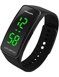 Forrader - Reloj de pulsera deportivo unisex, LED, con función de fecha, pulsera de goma
