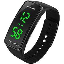 Reloj de pulsera deportivo unisex, LED, con función de fecha, pulsera de goma