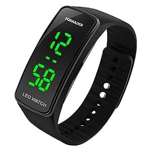 Forrader uomo donna unisex LED orologio sportivo con funzione data braccialetto di gomma Watchband