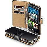 HTC One M9 Case, Terrapin Handy Leder Brieftasche Case Hülle mit Kartenfächer für HTC One M9 Hülle Schwarz mit Hellbraun Interior