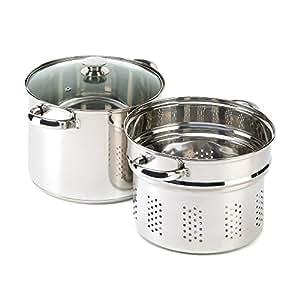 Stainless Pasta Cooker 8Qt Stock Pot Strainer Lid Set