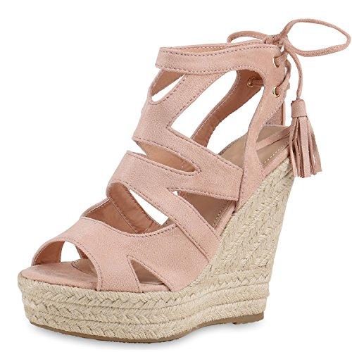 SCARPE VITA Damen Sandaletten Bast Keilabsatz Espadrilles Wedges Schuhe 160582 Rosa Quasten 38