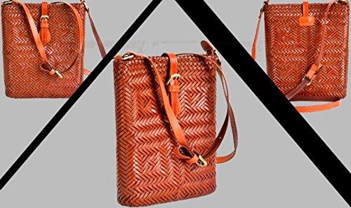 DJB/ Retro-Magnetverschluss geflochtene Leder Umhängetaschen handgewebte Tasche Orange