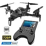 Holy Stone HS230 Drone avec Caméra HD 720P 120°Grand Angle,Émetteur avec Écran LCD 5.8G, RC Avion telecommandé Mini hélicoptère Quadricoptère, 2*Batteries, Jouet Cadeau pour Débutant et Adulte,Enfant