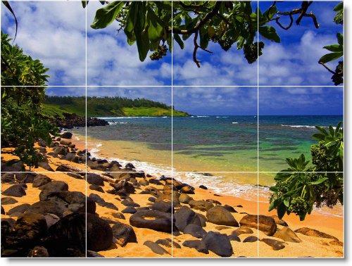 PLAYA FOTO TILE MURAL B015  18X 24CM CON (12) 6X 6AZULEJOS DE CERAMICA