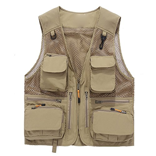 Vest Mens-Sommer-Cotton Freizeit Outdoor Fisch Vest Khaki