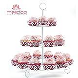 Melidoo 24er Cupcake Muffin Dessert Ständer 3-stöckig | Metall Etagere Weiß, Vintage | Ideal für Kindergeburtstag, Hochzeit, Taufe, Geburtstag, Baby Shower [inklusive E-Book] zum Einführungspreis